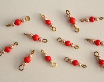 Vintage red and pink beaded brass connectors 17mm (12)