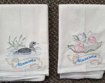Minnesota State Bird Common Loon & State Flower Showy Lady Slipper Flour Sack Towels