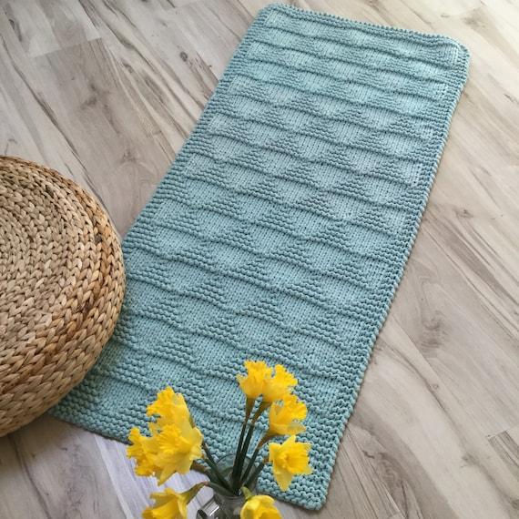 Knitted Carpet Bath Mat Hand Knitted Rag Rug Cotton Carpet