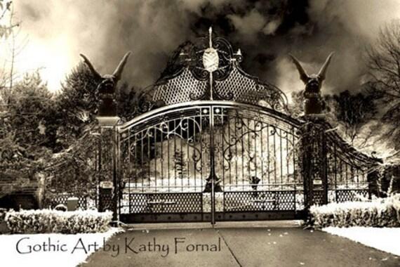 Gothic Gargoyle Photography Surreal Gate Print