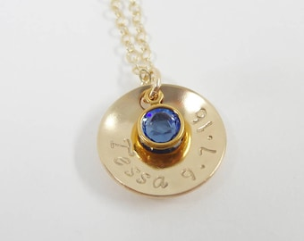 Hand Stamped mommy Necklace - Domed Disc Necklace - Perfect Mother's Gift