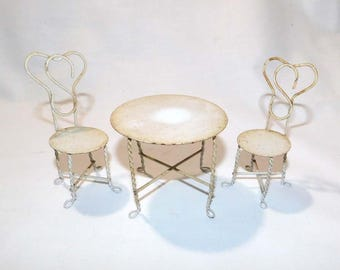 Vintage Miniature Doll House Furniture - Metal Patio Table and Two Chairs - Ice Cream Table and Chairs - Bistro Set - Doll House Collector