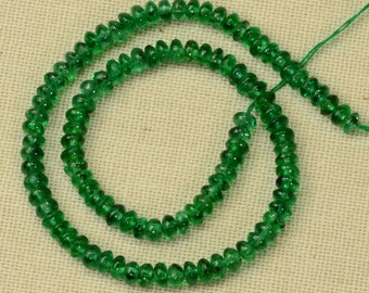 2.5mm Colombian EMERALD Smooth Rondelle Beads 6 inch Strand