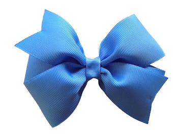 4 inch carolina blue hair bow - blue bow, 4 inch bows, pinwheel bows, girls hair bows, blue hair bows, girls bows, toddler bows, hair bows
