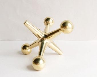 Large Vintage Solid Brass Jack Doorstop or Bookend Jax, Bill Curry Design
