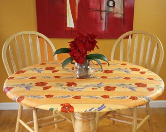 """Elasticized Round 41""""-50"""" Fitted Coated Tablecloth - Choose the Size & fabric - Umbrella Hole Available French Provencal Waterproof Fabric"""