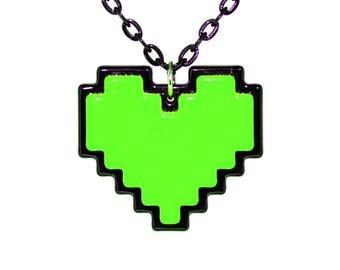 Undertale Cosplay Necklace Digital 8 Bit Pixel Heart Zelda Heart Container Green for Kindness