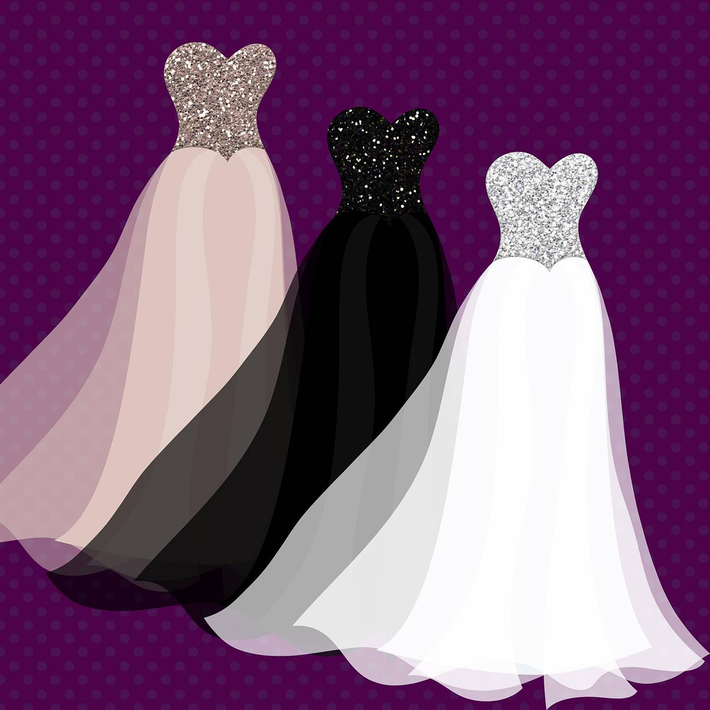 Glitter Gowns Clip Art | Designer Resources | Design Assets | PNG ...