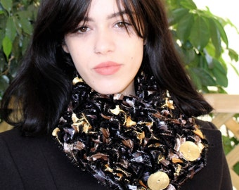 Sparkle scarf women, Buttoned neck warmer, Sparkly accessories, Luxury accessories, Gold button scarf, Velvet evening scarf, Free shipping