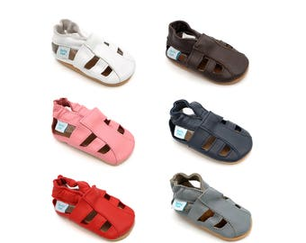 Dotty Fish Soft Leather Baby Sandals. Toddler Sandals. Non-Slip. Soft Sole. Indoor Slippers. Pram Shoes. Sandals for boys and Girls