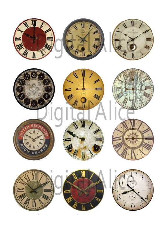 Vintage Clock Faces Craft Circles Instant Download Digital
