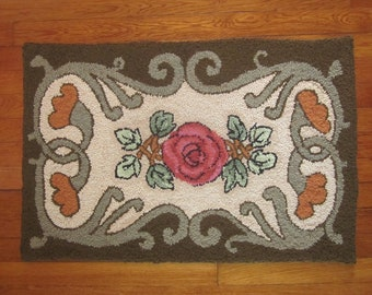 Hand Hooked Upcycled Wool Thro Rug with Art Nouveau Styling