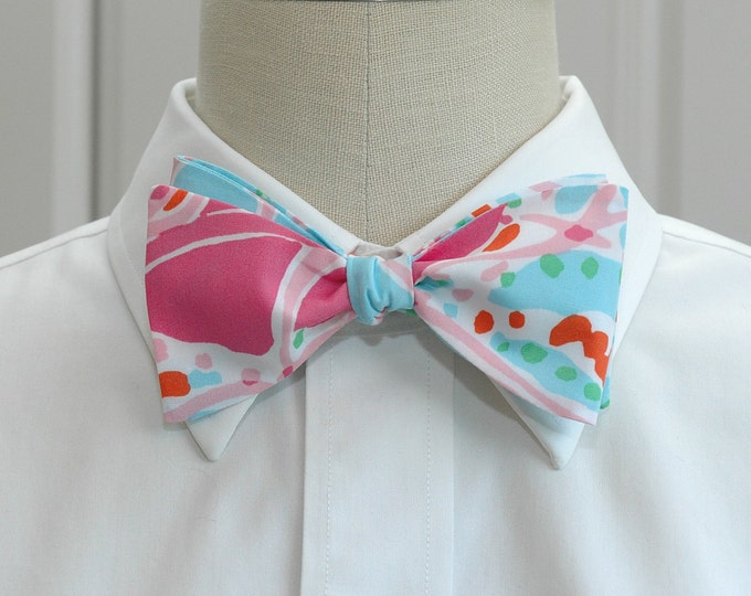 Men's Bow Tie, Jellies be Jammin' aqua & pinks Lilly print, wedding bow tie, groom bow tie, groomsmen gift, prom bow tie, jellyfish bow tie