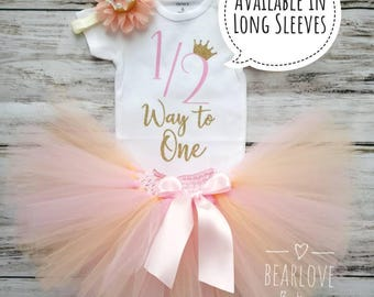 Half Birthday Outfit   Half Way to One   Pink and Gold 1/2 Birthday Outfit   6 Months Birthday   Cake Smash Outfit   Photo Prop   Baby Girl