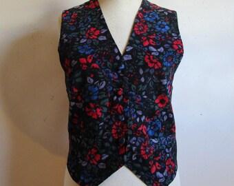 1980s Laura Ashley Corduroy Vest Vintage 80s Black Red Blue Floral Textured Pinwale Cotton Dapper Dress Vest 10US UK12