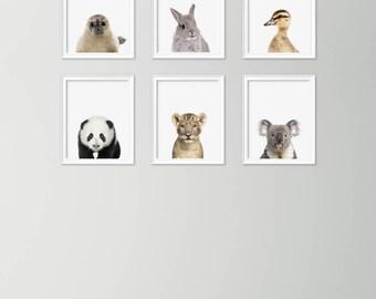 Nursery Animal Print - Nursery Animal wall art - Nursery animal head - Nursery animal art - Printable nursery animals - Animals print set