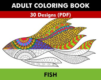 Coloring Book for Adults - Fishes (PDF)