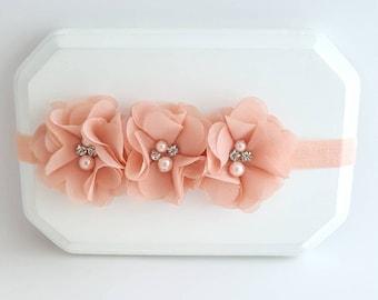 Triple Peach Flower Headband, Flower Girl Headband, Peach Headband, Baby Headband, Peach Baby Headband, Shabby Chic Headband, Peach Hair Bow