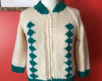 60's Zip Up Cardigan Green and Cream Harlequin Pattern