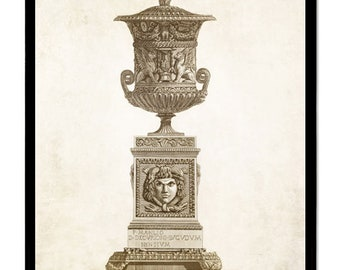 You get 4 Classic Urns and pedestal art prints. Impressive beautiful wall art home decor office decor, great gift Size 18x24 or 11x14  inch!