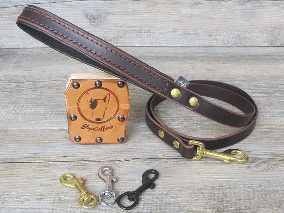 Brown Leather Dog Leash with Padded Handle, Custom Lenght and Width, Brass, Nickel or Black Hardware, Walking Dog Leash, Leather Dog Lead
