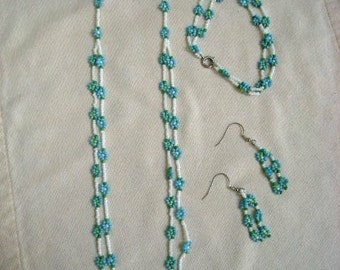 Beaded Flower 3 pc Set, Multi Colors Available