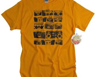 Retro Ghetto Blaster T-Shirt Analog Cassete Player women men ladies youth teen music tee shirt 80s stereo tshirt gift music lover