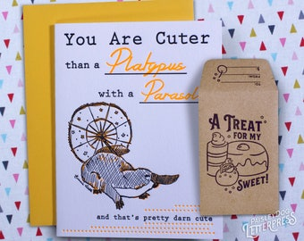Letterpress Greeting Card with Gift Card Holder- Platypus with a Parasol Gifts for Him / Gifts for Her