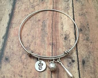 Baseball & bat initial bangle - baseball jewelry, gift for baseball mom, baseball mom bracelet, softball bangle, softball jewelry