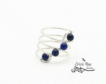 Lapis lazuli gemstone beaded wire wrapped spiral ring,  silver plated non tarnish ring,  boho ring,  boho jewelry