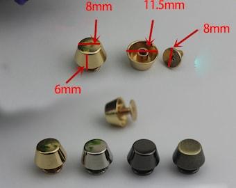 20pcs 8*6mm copper leather bags feets/ bucket foot rivet  golden /gun-metal/silver/brass