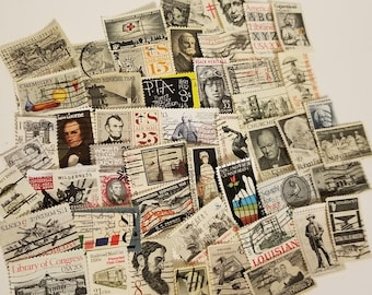 50 black gray postage stamps Vintage paper supplies ephmera mixed lot USA International postage stamps images off paper lot