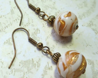 Venetian glass bead earrings with gold