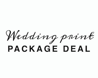 Hand Lettered Foil Wedding Sign Package Deal - Hand Written Wedding Prints Package Deal - Real Copper Foil - Hand Written Wedding Sign