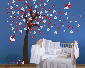 Cherry Blossom Tree Wall Decal - Tree With Birds Wall Sticker - TRCB010R