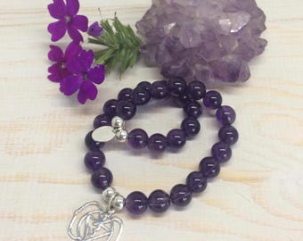 925 Sterling Silver Third Eye Chakra pendant with Amethyst beads.