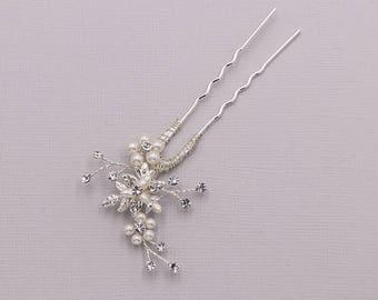 Swarovski crystal pearl wedding hair pin, bridal hair accessories, pearl rhinestone hairpin, bridal hairpins, Malia Pearl Hair Pin