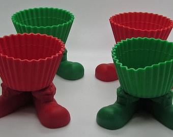Wilton Santa Silly Feet 4 Silcone Baking Cups Holiday Cupcakes Bake And Serve Christmas X-Mas