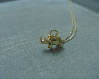 Gold elephant necklace 18 k gold plated