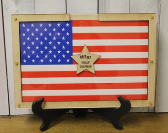 Personalized Guest Book/Flag/Patriotic/Military/Retirement/Heart Drop Guest Book/Wood Shapes/Alternative/Unique/Wedding/Book Frame