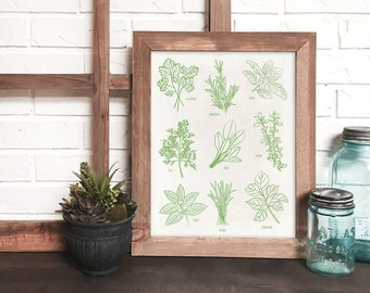 botanical kitchen print, plant print, herb kitchen art, kitchen art, herb print, herb poster, housewarming gift
