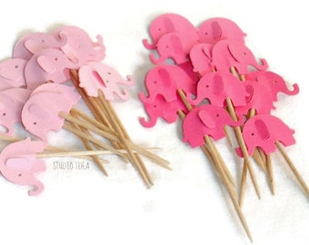 Mixed Pink Elephant Cupcake Toppers, Food Picks-Set of 12pcs,  24 pcs