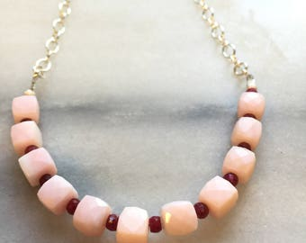 Pink Peruvian Opal and Ruby Necklace\\ minimalist opal  necklace\\ sterling silver necklace \\ Valentine's Gift \\