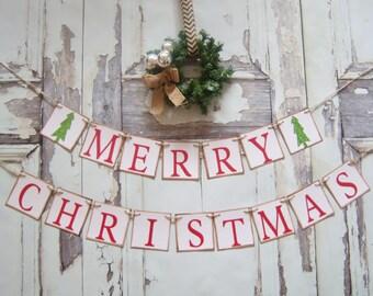 Christmas Banner Christmas prop Christmas Decoration Christmas bunting MERRY CHRISTMAS banner Photo Prop  Christmas country Rustic Decor