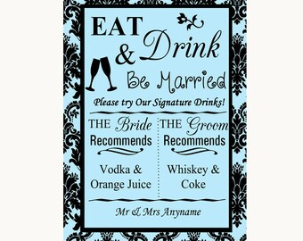 Sky Blue Damask Signature Favourite Drinks Personalised Wedding Sign