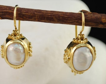 Solid 18K Gold Byzantine Dangle Pearl Earrings - FREE Shipping