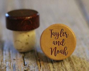 BEST PRICE ** Lot of Personalized Custom Wine Stopper, Laser Engraved Cork Bottle Topper, Reusable Rustic Wedding Favor --WS-L-TaylorNoah