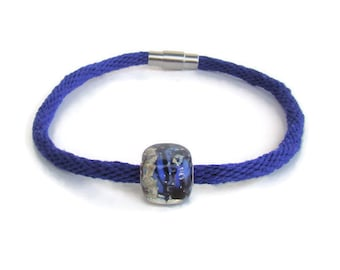 NEW-- woven, custom length, royal blue kumihimo bracelet with stainless steel magnetic clasp and lampwork glass bead