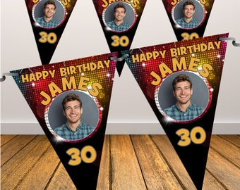 Personalised Happy Birthday PHOTO Flag Banner Bunting with ribbon N41 (10 Flags ) Hanging Decoration 18th 21st 30th 40th Any Age