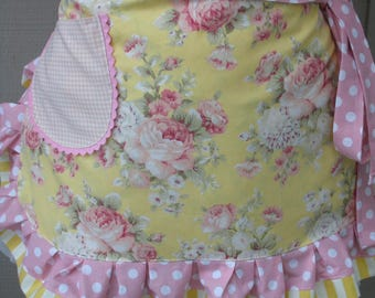 Womens Aprons - Aprons with Pink Roses - Yellow Apron - Yellow Rose Aprons - Shabby Chic Aprons - Annies Attic Aprons - Handmade Pink Aprons